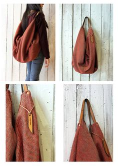 """Large Handmade Italian Canvas & Leather backpackTote """"City"""" di LaSellerieLimited su Etsy"""