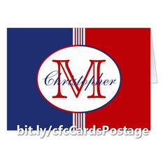 Red White and Blue Stripes Monogrammed Blank Card - This colorful greeting card or note card features red, white, and blue stripes topped with an oval containing a customizable name and initial. Matching return address labels are also available. http://www.zazzle.com/red_white_blue_stripes_monogram_blank_card-137833650954401870?rf=238083504576446517&tc=pint071416 #stayintouch #graphicdesign #monogram #DebiDalio
