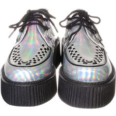 Iridescent Silver Mondo Creepers ($79) ❤ liked on Polyvore featuring shoes, creepers, footwear, silver shoes, iridescent shoes and creeper shoes