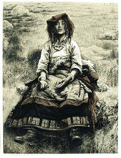 Shepherdess   by Yuan QingLu  Colour Woodcut  114x84cm,2000