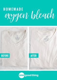 Learn how to use two common cleaning agents to make your own homemade oxygen bleach! It whitens and brightens your clothes just like the store-bought stuff. Also read can use for toilets Cleaning Recipes, House Cleaning Tips, Cleaning Hacks, Cleaning Services, Cleaning Supplies, How To Whiten Clothes, Homemade Bleach, Oxygen Bleach, Cleaning Agent