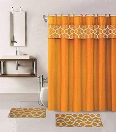 15-piece Hotel Bathroom Sets - 2 Non-Slip Bath Mats Rugs Fabric Shower Curtain 12-Hooks GEOMATRIC ORANGE