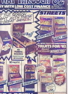 Various machines featured in a Coin Slot ad from 1982. Monopoly, Arcade, Slot, Ads, Seasons, Fruit, Classic, Derby, Seasons Of The Year