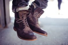 boots with wingtip detail.