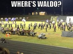 Where's Waldo? Lol my mom says where is Shelby! I cant find her. Marching Band Problems, Marching Band Memes, Band Jokes, Wheres Waldo, High School Band, Band Nerd, Drumline, Winter Guard, Love Band
