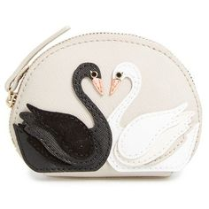 Women's Kate Spade New York 'On Pointe - Swan Dumpling' Coin Purse (8530 RSD) ❤ liked on Polyvore featuring bags, wallets, multi, kate spade bags, leather wallets, coin purse, white wallet and leather coin pouch
