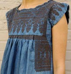 isabel marant leal denim embroidered dress  at metier