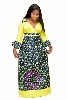 Robe Fyna | Awalebiz Marketplace Long African Dresses, Latest African Fashion Dresses, African Print Dresses, African Print Fashion, 50s Dresses, Elegant Dresses, Africa Dress, African Traditional Dresses, African Attire