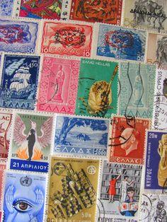 Grecian Love 50 Vintage Postage Stamps Greece by preciousowl