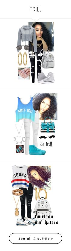 """TRILL"" by misskera ❤ liked on Polyvore featuring WithChic, Converse, MCM, Judith Leiber, Seafolly, Panacea, Frame, Vans, Betsey Johnson and Kate Spade"