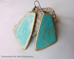 Summer style turquoise gold earrings, polymer clay earrings, summer earrings, patina earrings, beach jewelry, patina jewelry by Artfessional