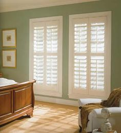 Dallas Plantation Shutters Double panel with a divider rail @ half Custom painted shutters. #bestshuttersdirect