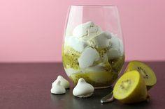 A foolish mess - golden kiwifruit, aquafaba meringue and whipped coconut cream.
