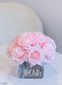 Pink Flower Arrangements, Artificial Floral Arrangements, Faux Flowers, Pink Flowers, Square Glass Vase, Pink Centerpieces, Light Pink Rose, Silk Roses, White Roses