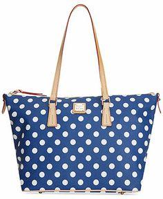 1176bb9f8cf Dooney & Bourke Polka Dot Zip Top Tote Handbags & Accessories - Macy's