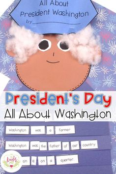 President's Day lessons for Kindergarten. All about George Washington ideas and lessons! Primary Teaching, Primary Classroom, Teaching Activities, Kindergarten Teachers, Hands On Activities, Classroom Activities, Teaching Ideas, Classroom Ideas, Kindergarten Projects