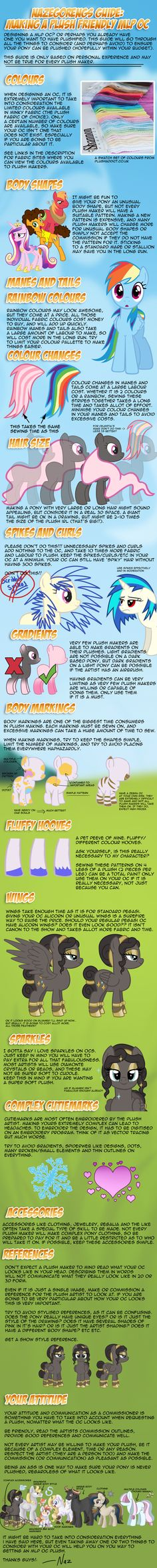 Naz's Guide - How to Make a Plush Friendly MLP OC by Nazegoreng i might try to make my own plush... so this doesnt help too much but i will consider alot of this :) <3