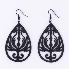 Black Phoenix Wood Earrings Flame Filigree by MoonRoseDesign