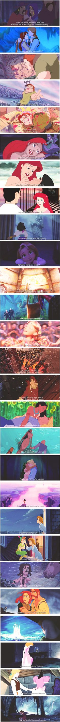 I Dreamed a Dream + Disney. I love this. Minus the fact that ANASTASIA IS NOT A DISNEY PRINCESS.