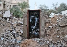 Controversial Street Art by Banksy in Gaza, Palestine. Niobe crying