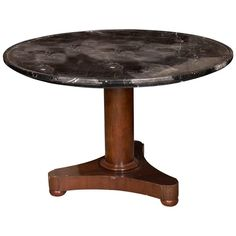 Single Pedestal Table, Marble and Mahogany, Century Antique Furniture, Modern Furniture, Neoclassical, Pedestal, 19th Century, Marble Wood, Carving, Stone, Antiques