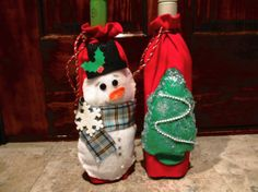 Snowman Wine Bottle Cover Christmas Wine by scrapbookhappynet, $12.00