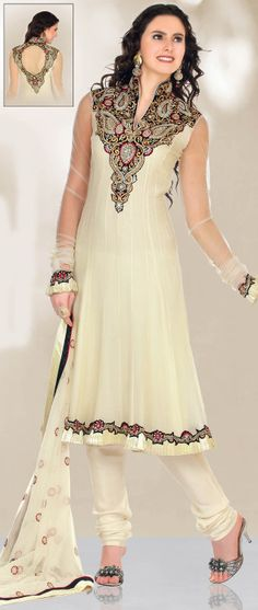Cream Net Anarkali Churidar Kameez @ $114.77