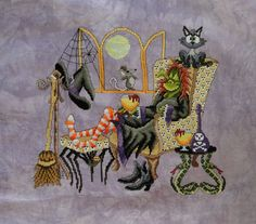Come Sit A Spell by Glendon Place, cross stitched on Whimsey cashel from Picture This Plus