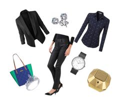 """Spring @work"" by sandris29 on Polyvore featuring LE3NO, Jupe de Abby, Vera Bradley, Timex, Paco Rabanne, black, Blue, GREEN, office and Rabanne"