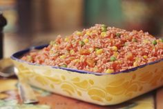 Easy Spanish Rice- tried this tonight. Really good! Use Rotel instead of tomato sauce.
