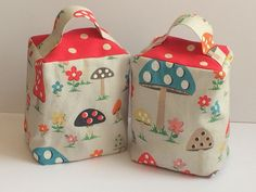 HANDCRAFTED DOORSTOP in CATH KIDSTON FABRICS  Mushroom  and  Red Spot