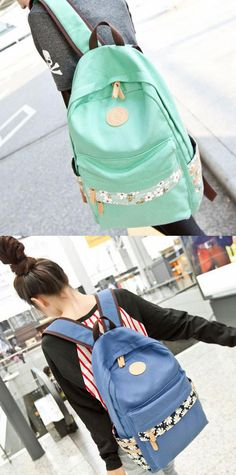 Pretty Floral Print Canvas Backpacks Schoolbags for big sale ! #floral #canvas #backpack #bag #college #school #cute