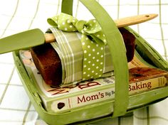 Cookbook + baked recipe from cookbook + dishtowel  spatula = Great gift for your favorite cook!