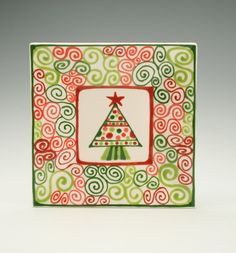 Christmas Square Plate Tree Hand