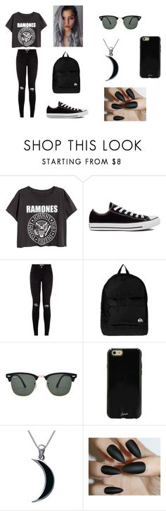 """Ramones"" by kianxxcam13 ❤ liked on Polyvore featuring Converse, Quiksilver, Ray-Ban, Sonix and Carolina Glamour Collection"