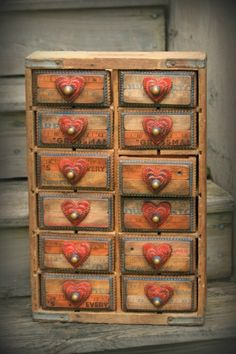 Downeast TRamp and Whimsy: Pepsi Crate Tramp Art APothecary My Funny Valentine, Valentines, I Love Heart, Home And Deco, Heart Art, Altered Art, Altered Boxes, Painted Furniture, Recycled Furniture