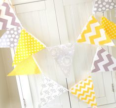 9 feet Banner, Bunting, 21 Pennant Flags, Yellow and Grey Polka Dot, Chevron and Floral