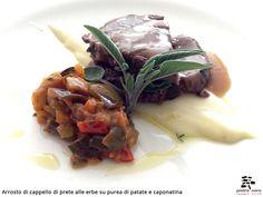 Arrosto di cappello di prete alle erbe su purea di patate e caponatina - Spirito Mediterraneo Modica