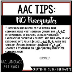 AAC Language and Literacy quote from Susan Berkowitz