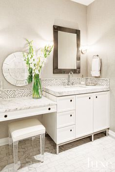 vanity table in the ensuite, lucite stool