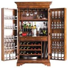 Wine storage, drawer, shelves for other items, dividers for trays