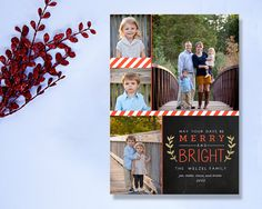 Modern Chalkboard Christmas Photo Card, Red Stripes & Gold Wreath (printable)