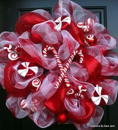 Candy Cane Christmas Wreath - Deco Mesh Christmas Wreath - Candy Cane Wreath - Holiday Wreath. $70.00, via Etsy.