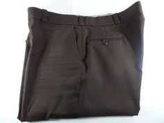 Flying Cross Mens Brown Dress Pants 48W 32L Flat Front Polyester Usa Made #FlyingCross #DressFlatFront