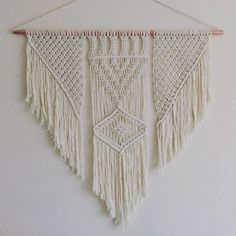 Handmade Macrame Copper Wall Hanging.  80cm wide with 75cm drop.  Natural unbleached cotton rope with handmade 20mm thick copper pipe.