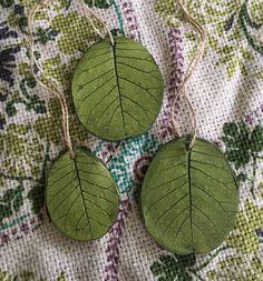Green leaf imprint ornaments for garden lovers, smokebush leaves
