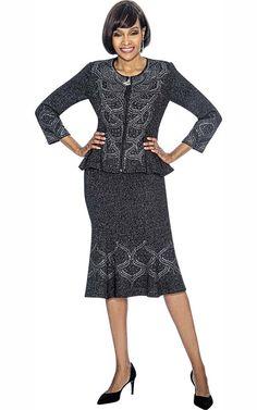 27babbffbfbd09 Susanna 3879 - Womens Flared Skirt Set With Peplum Jacket - Fall 2018 -  ExpressURWay