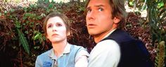 Carrie Fisher and Harrison Ford Return Of The Jedi 1983