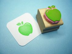 Apple rubber stamp - Juicy Apple - Hand Carved Rubber Stamp. £4,00, via Etsy.