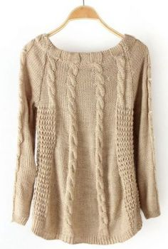 LOVE! Khaki Scoop Neck Pearls Embellished Cable Knit Sweater - Sheinside.com